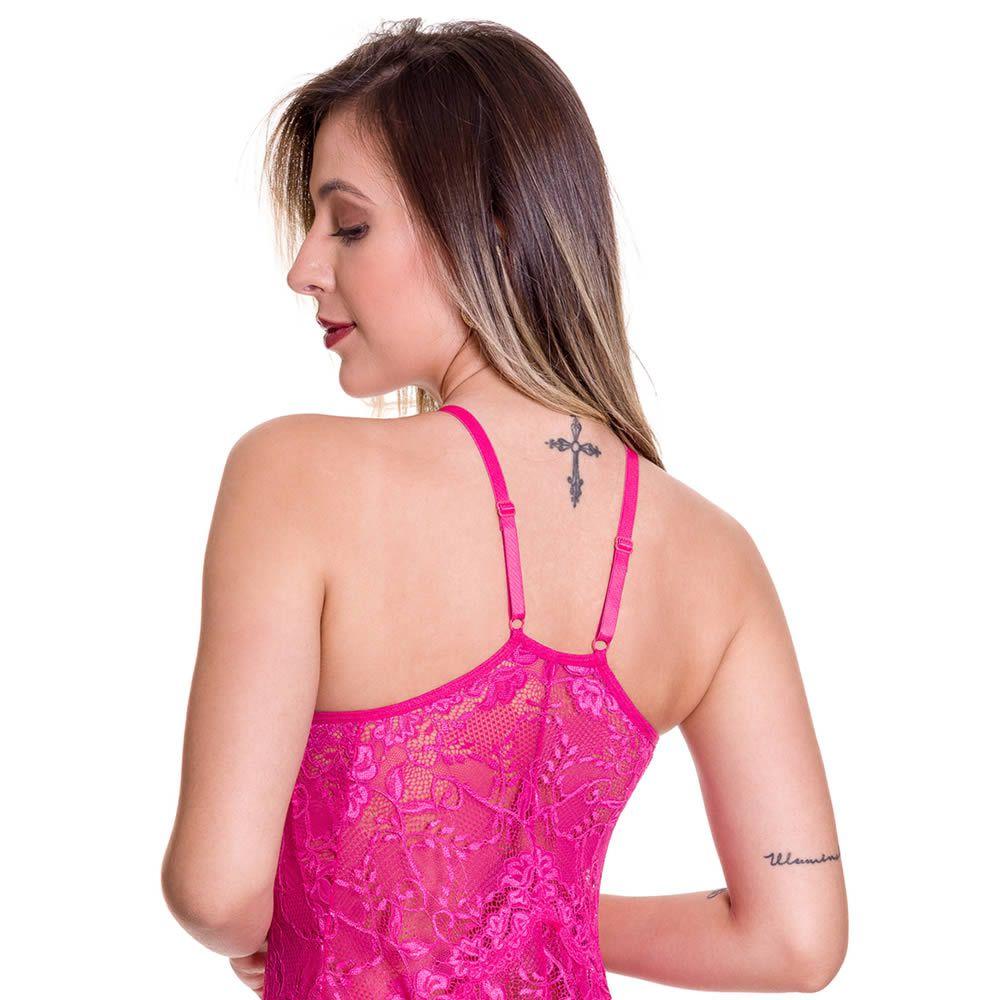 Camisola Rosa Transparente em Renda e Tule com Bojo Graziela - MS1717