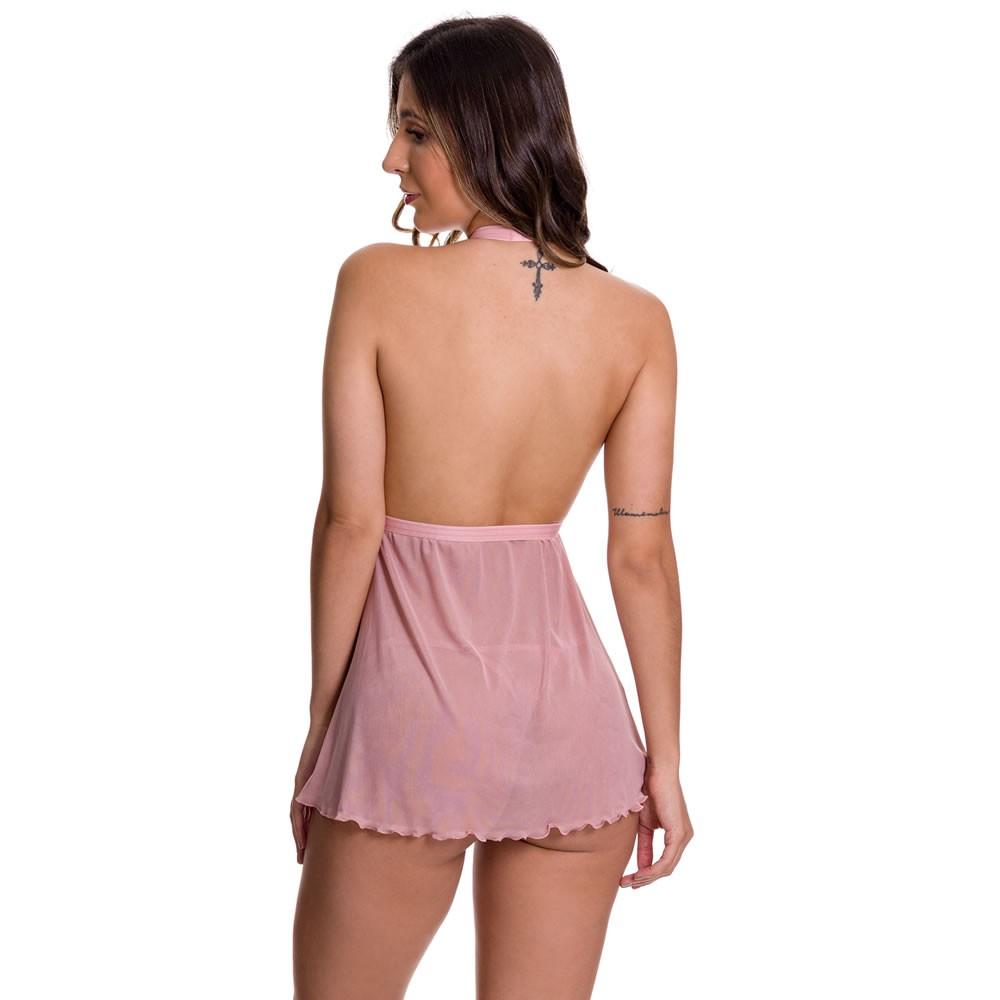 Camisola Rosê Transparente em Tule e Renda Bela - GL374