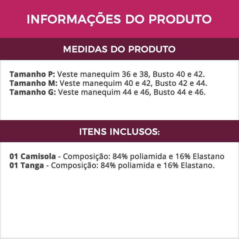 Camisola Strappy com Bojo em Microfibra e Renda com Calcinha Carolina - TV4009