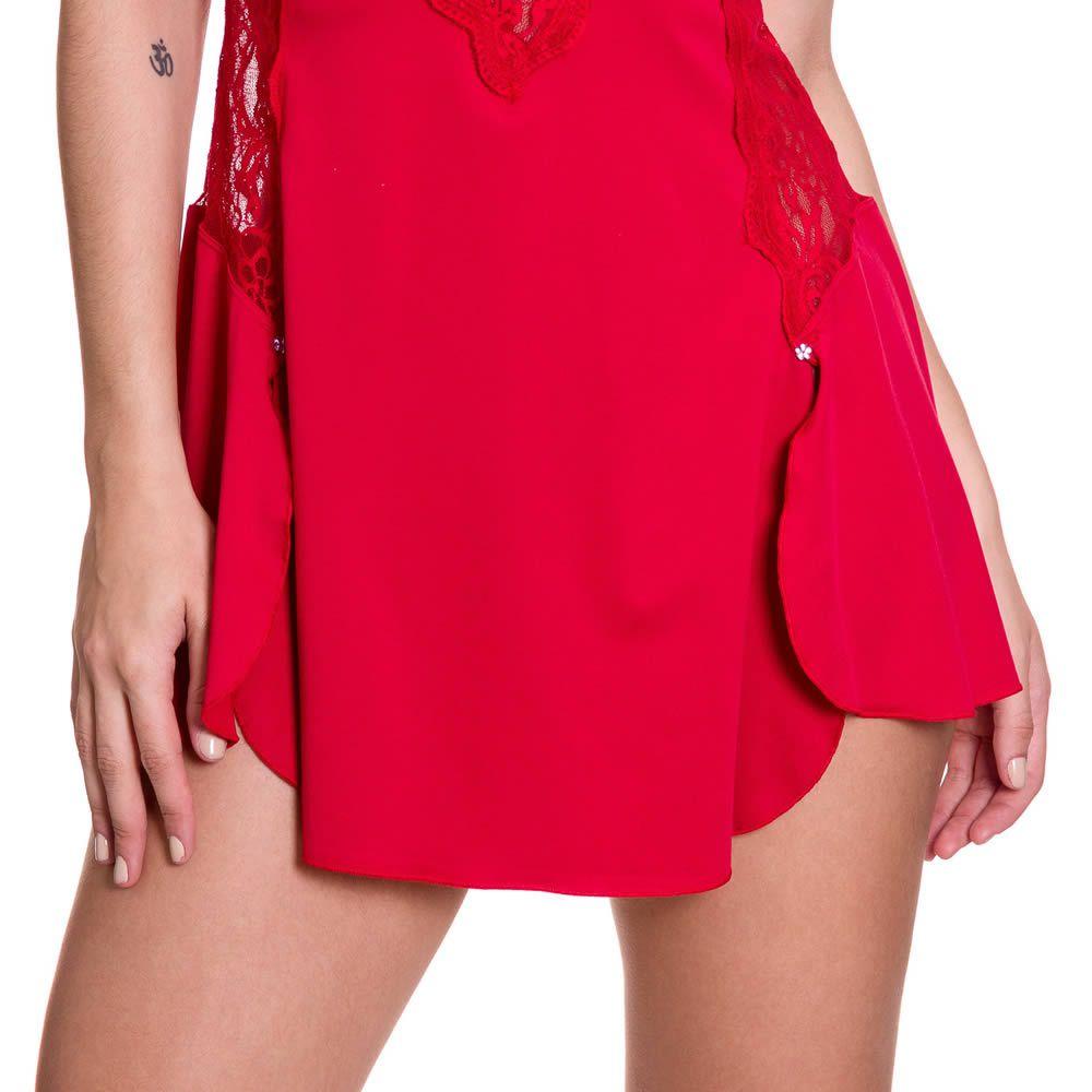 Camisola Transparente em Microfibra e Renda Ingrid Branca, Preta ou Vermelha - ES208