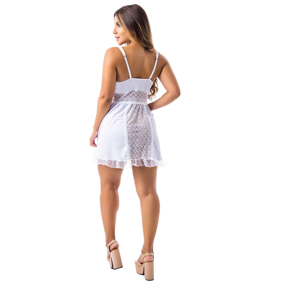 Camisola Transparente em Tule e Renda Bia - EK5045