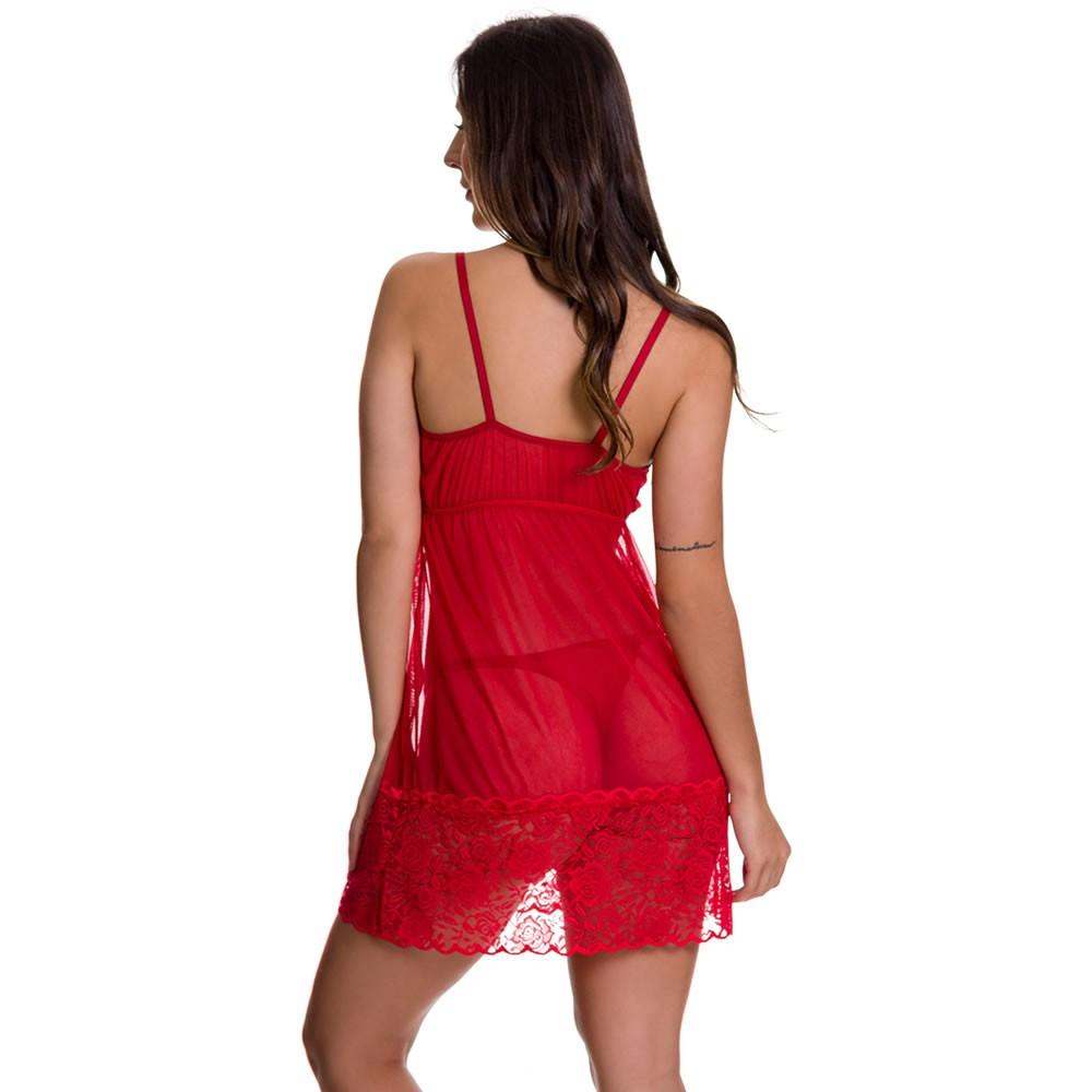 Camisola Transparente em Tule e Renda Bionda - ES217