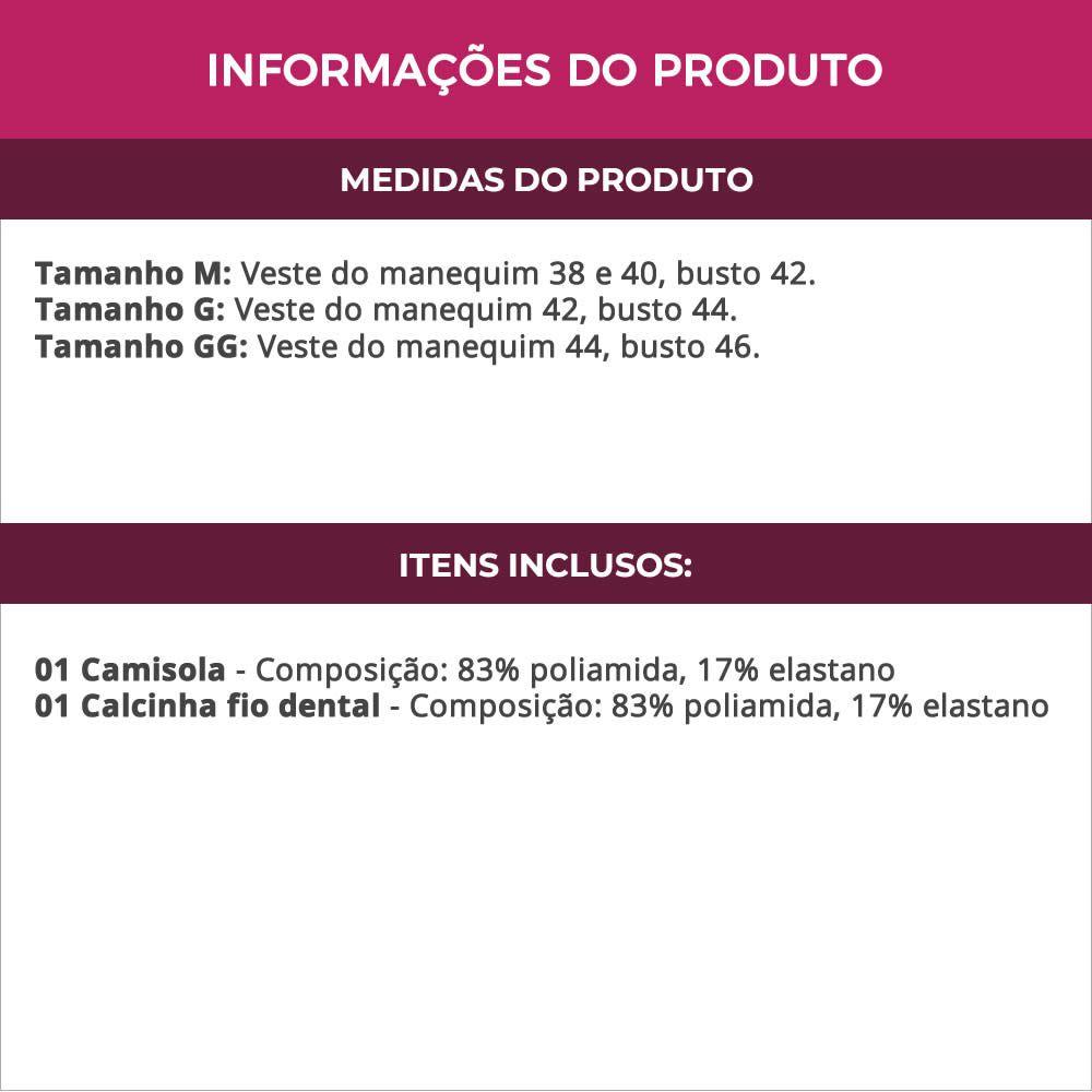 Camisola Transparente em Tule e Renda com Bojo Libelula - LB3008