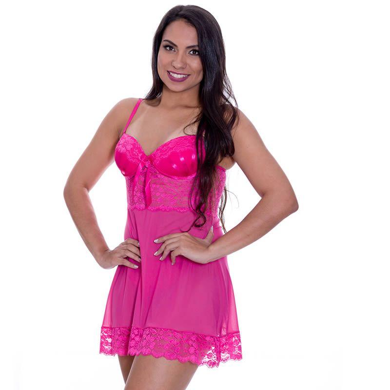 0b0aa9069 ... Camisola Transparente Rosa em Tule e Renda com Bojo Valentina - MS1783  ...