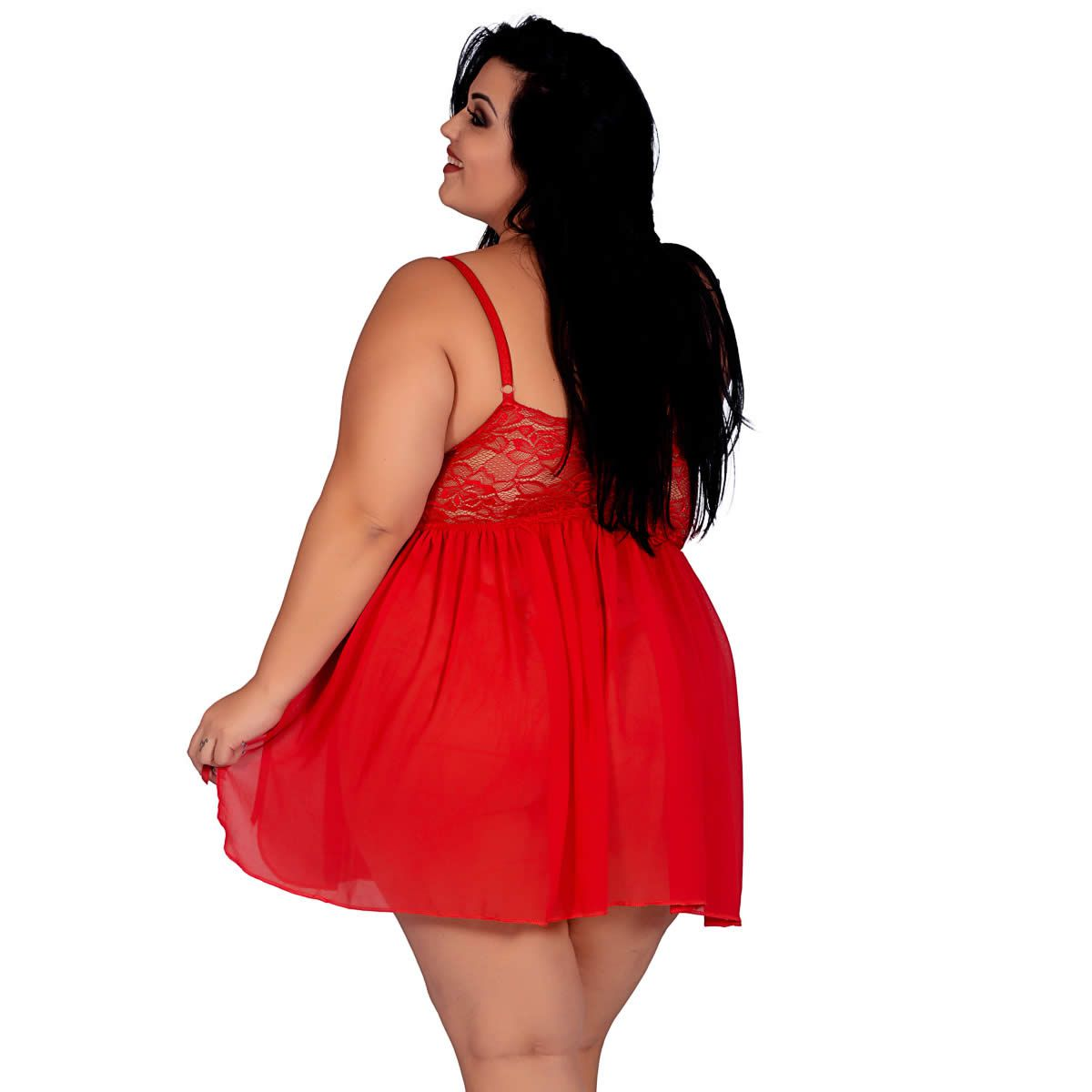Camisola Vermelha Plus Size em Chiffon e Renda Fany - EK5027