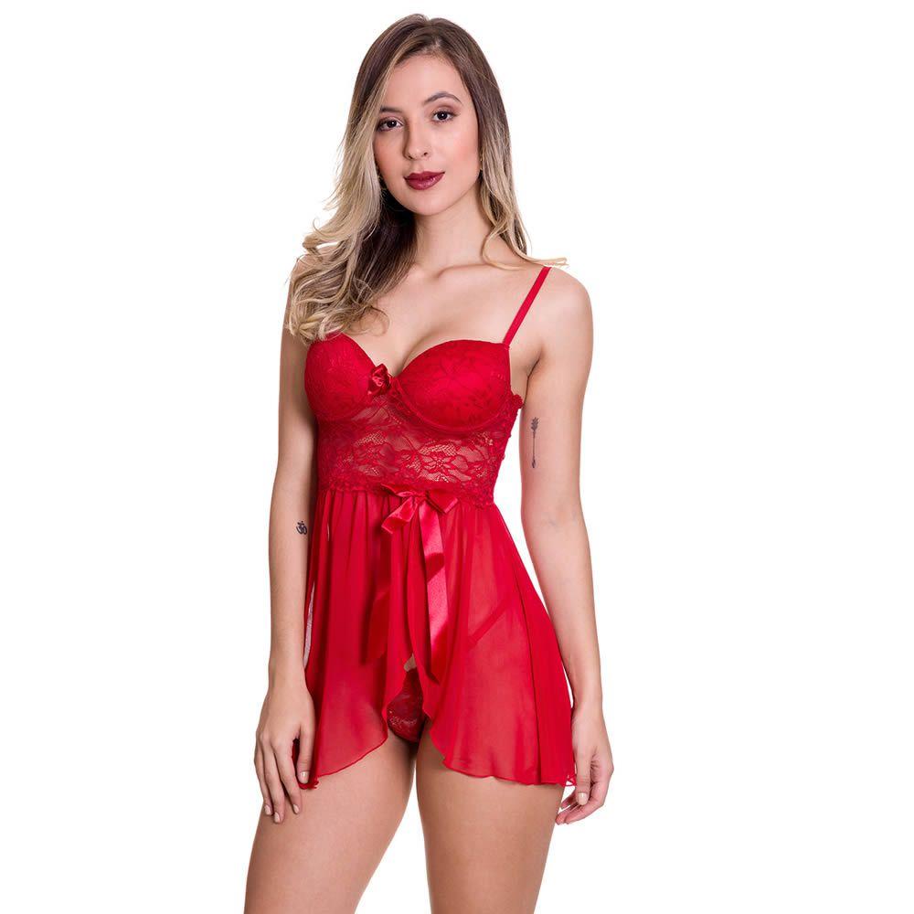 Camisola Vermelha Transparente em Renda e Tule com Bojo Olivia - MS1419