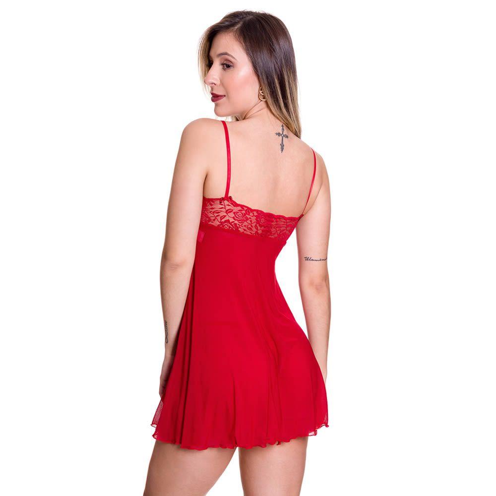 Camisola Vermelha Transparente em Tule e Renda Tati - GL271