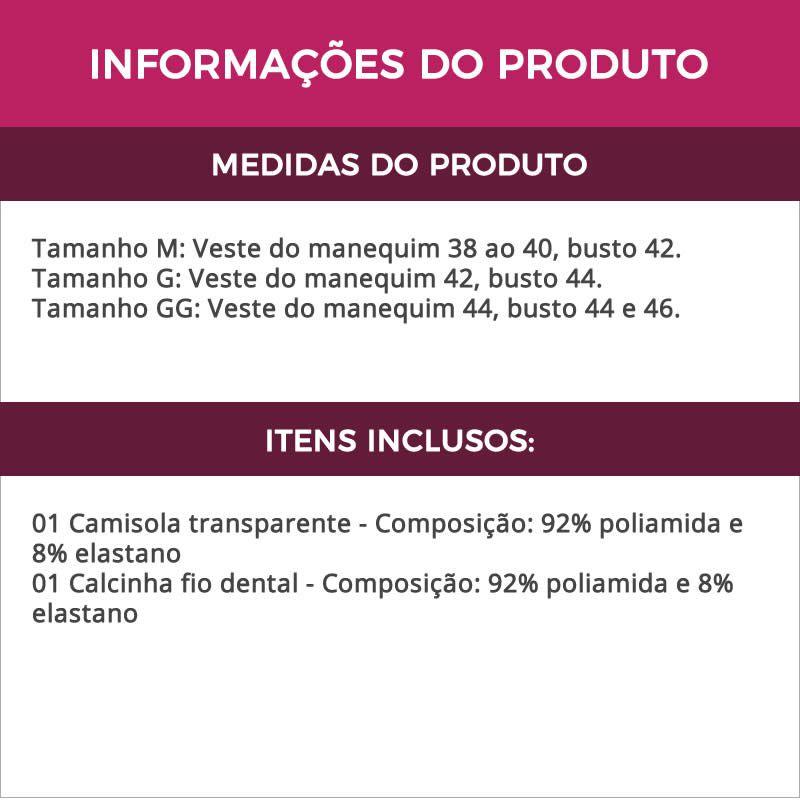 Camisola Vinho Transparente em Renda e Tule com Bojo Graziela - MS1717