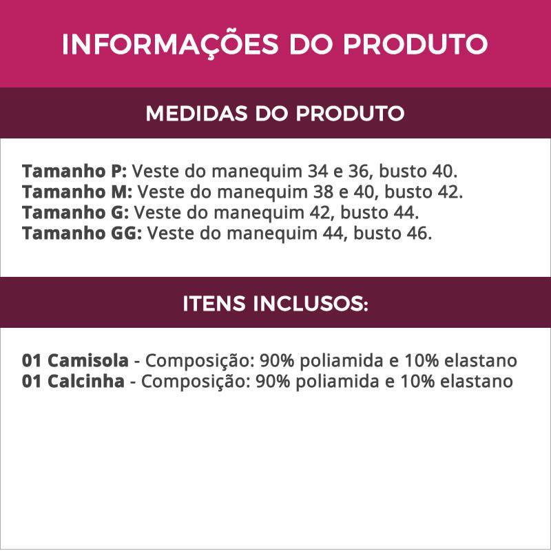 Camisola Vinho Transparente em Tule e Renda com Calcinha - VC3266