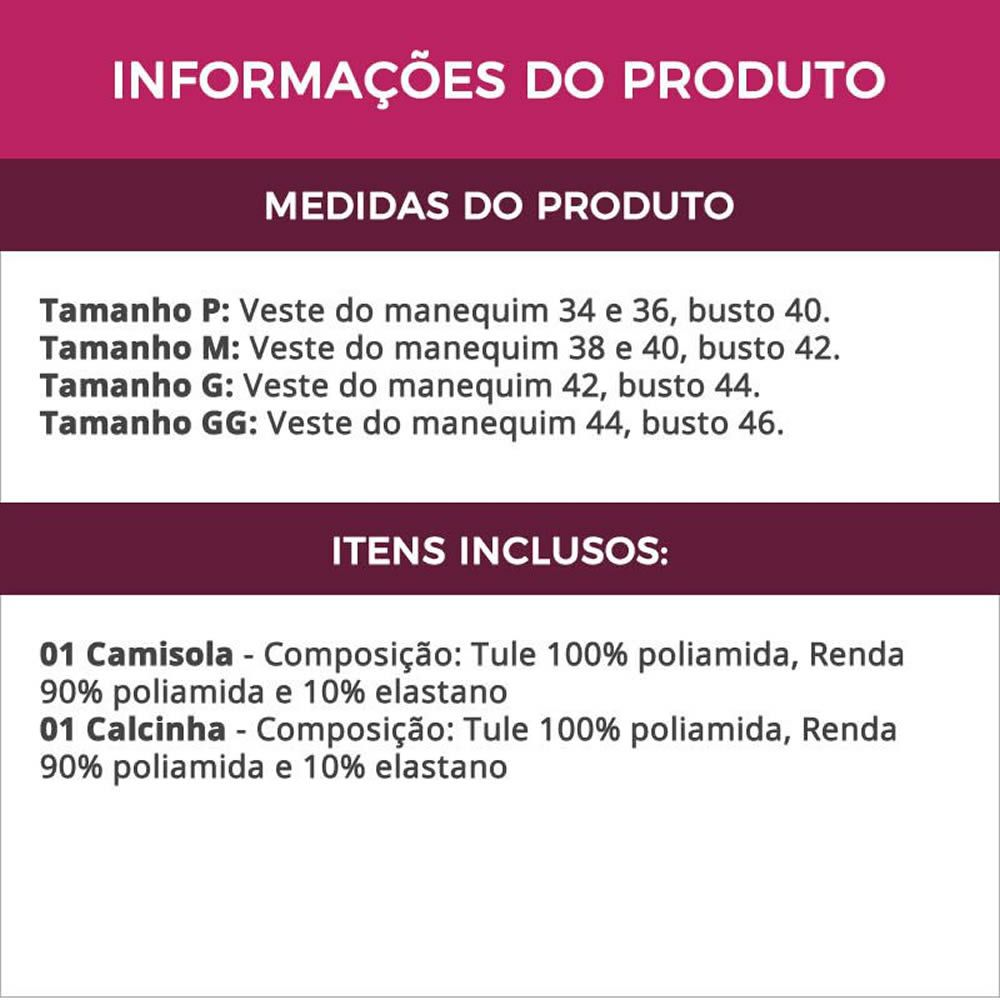 Camisola Violeta Transparente em Tule e Renda Tati - GL271