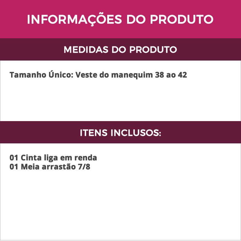 Cinta Liga em Renda Preta + Meia Arrastão 7/8 - VT1023