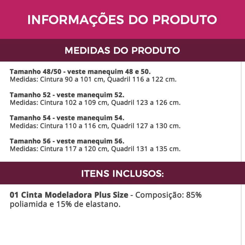 Cinta Modeladora Plus Size Redutora de Medidas Bege ou Preta - PL286-PL285
