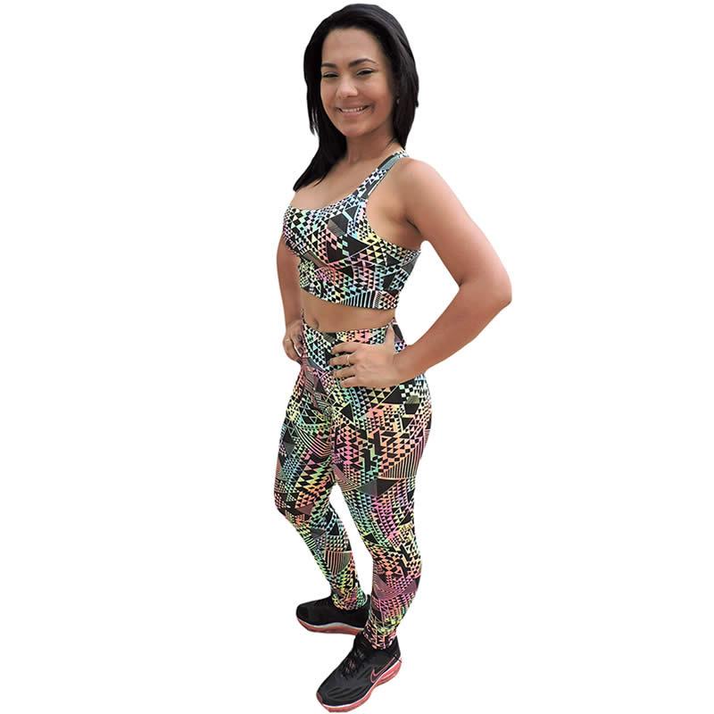 Conjunto Fitness Calça Legging Estampada + Top em Suplex - DB110
