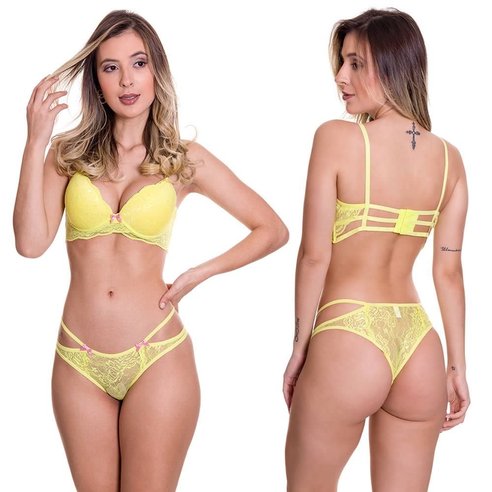 Conjunto de Lingerie Amarelo com Bojo alças reguláveis - B403314