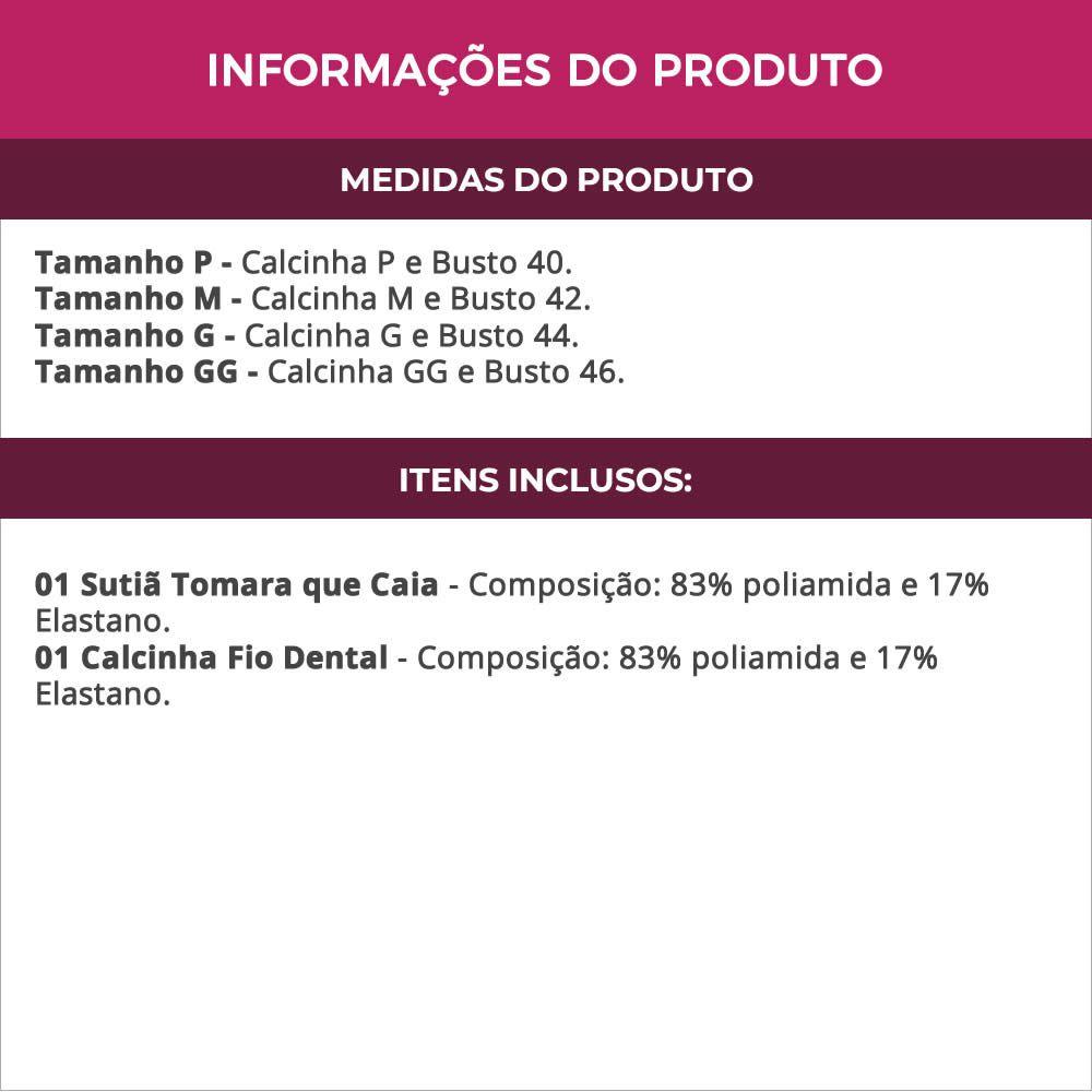 Conjunto de Lingerie com Sutiã Tomara Que Caia Preto em Microfibra e Renda - VC4008