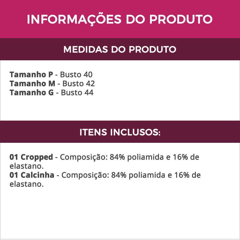 Conjunto de Lingerie Cropped e Strappy Preto Ticiane - TV4102