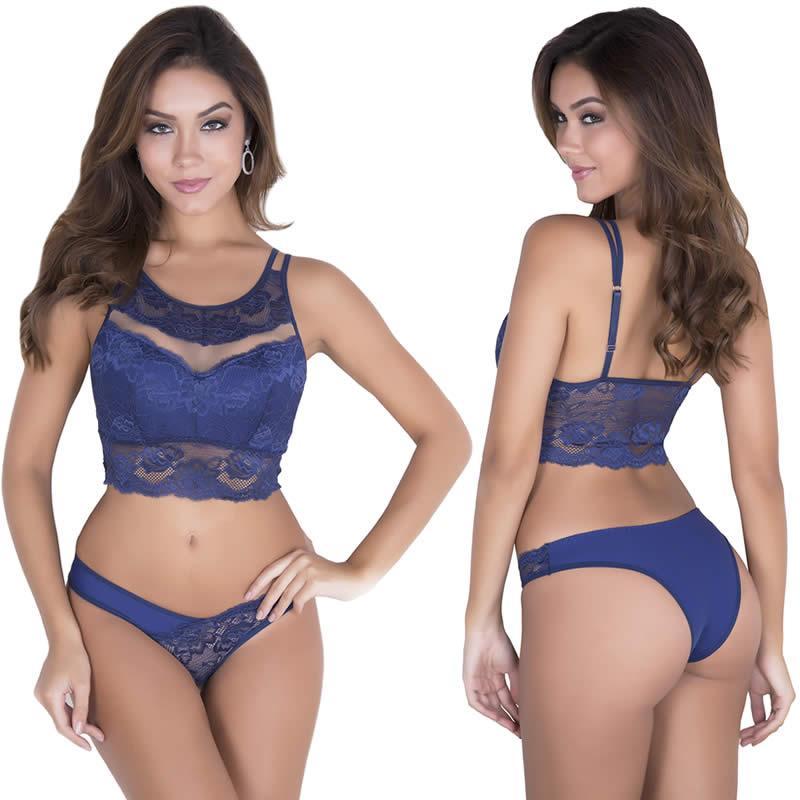 Conjunto de Lingerie Cropped em Renda com Bojo Azul Marinho - TV4093
