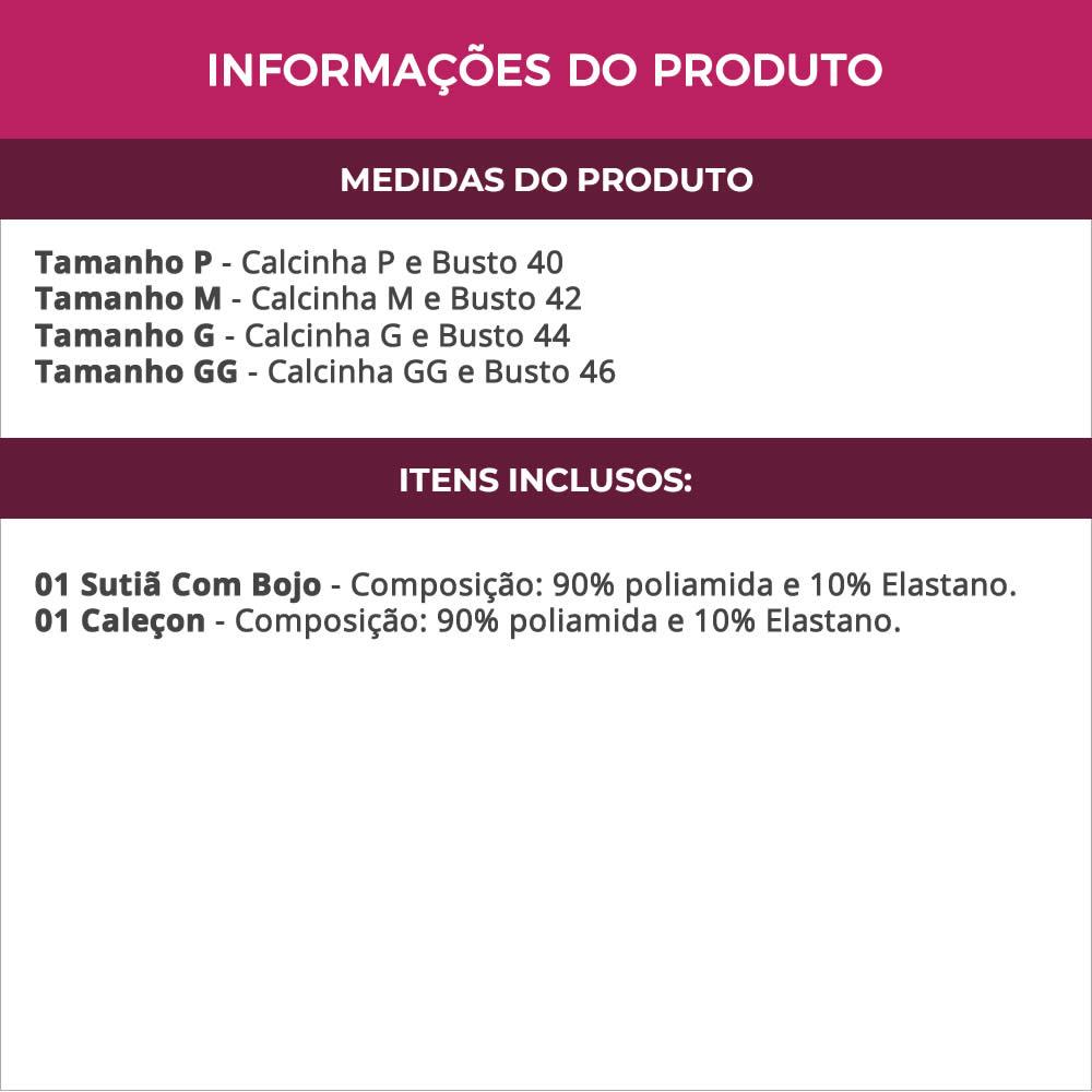 Conjunto de Lingerie em Microfibra e Renda Natasha - MF1364