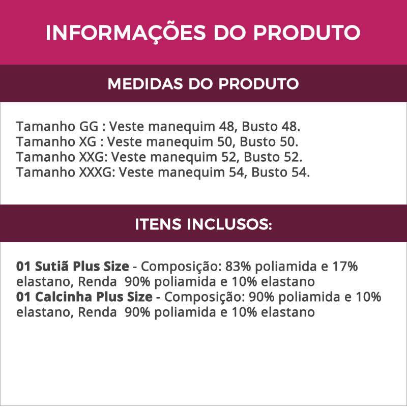 Conjunto de Lingerie Plus Size Preta em Microfibra e Renda - VC3275