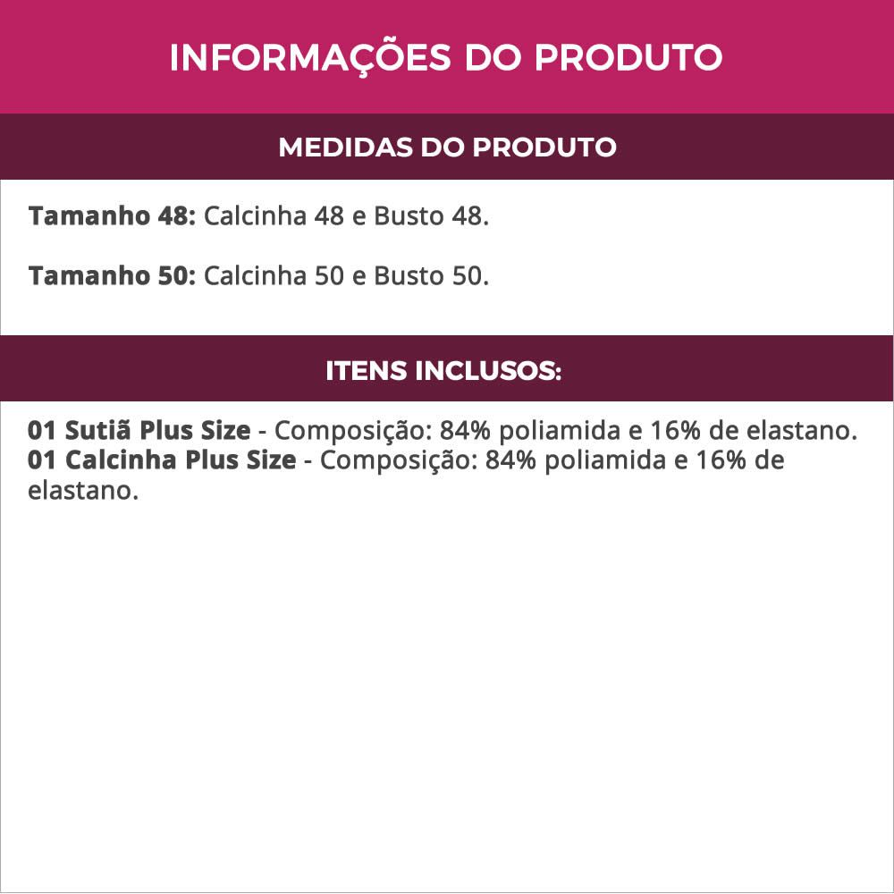 Conjunto de Lingerie Plus Size Preto em Microfibra e Renda Renata - TV4249