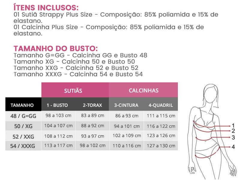 Conjunto de Lingerie Plus Size Strappy Branco com Bojo em Renda - PL243/244-PL231/232