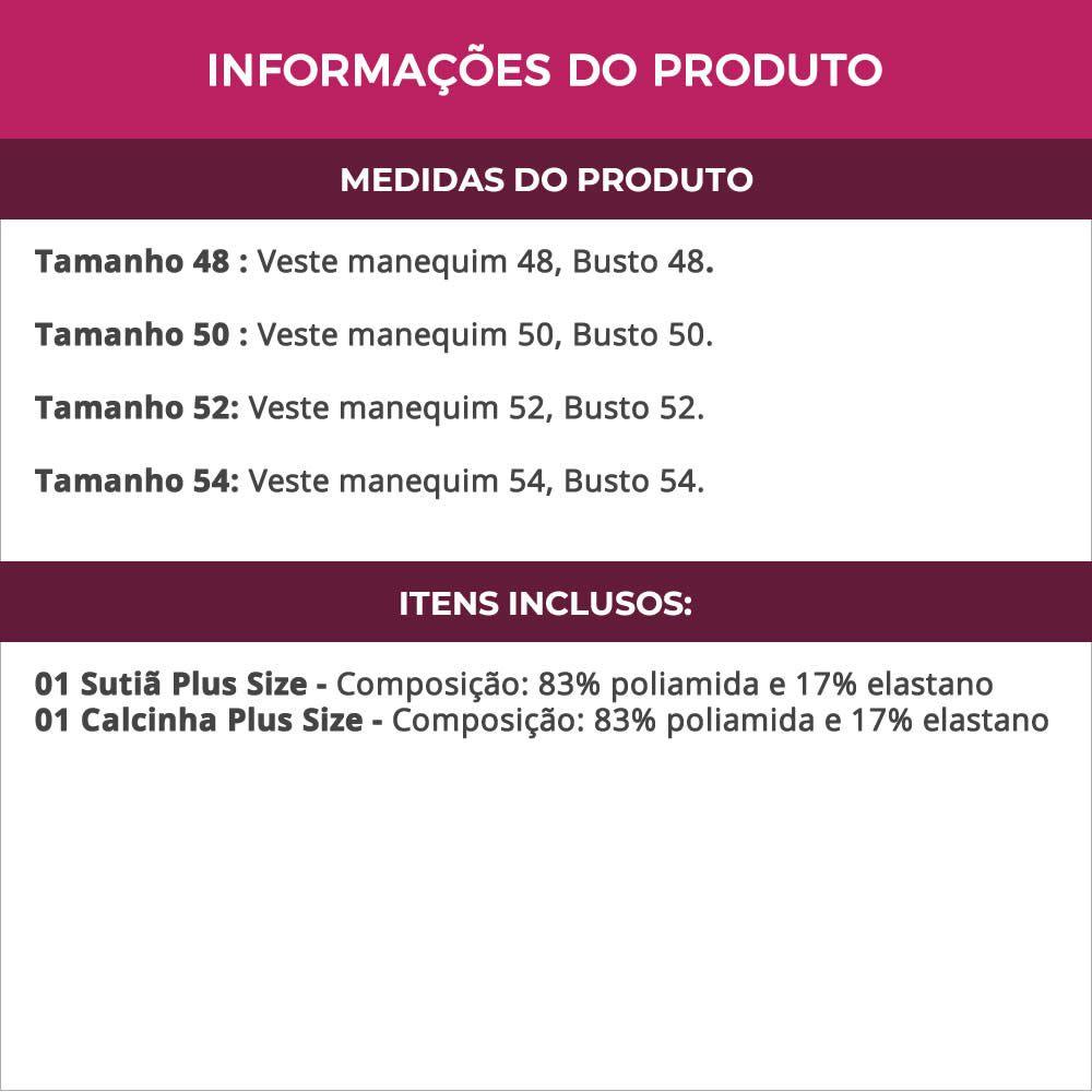 Conjunto de Lingerie Plus Size Vermelho ou Preto em Microfibra - VC3274