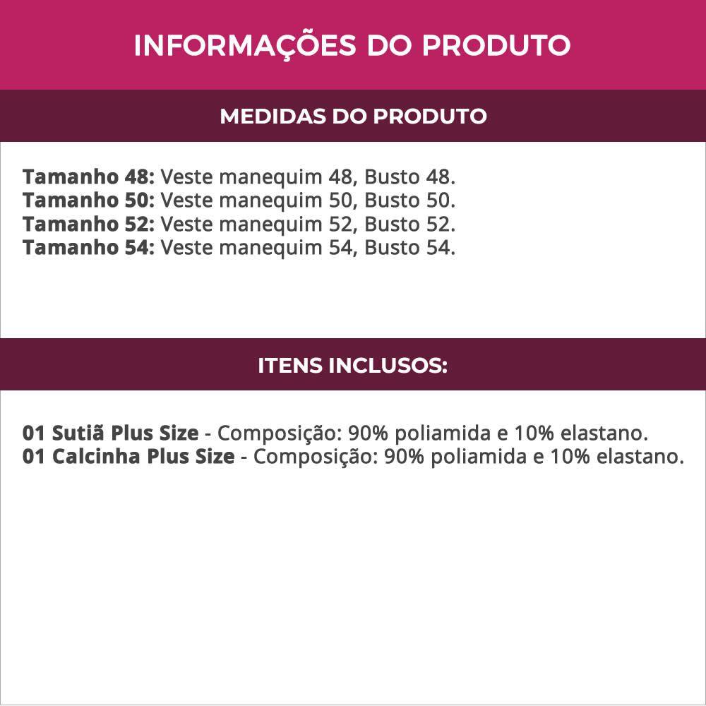 Conjunto de Lingerie Plus Size Vinho ou Preto Mônica - MF1405