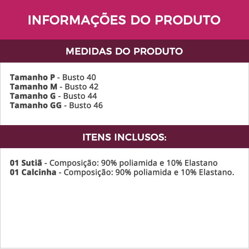Conjunto de Lingerie Preto com Bojo em Microfibra - B402313