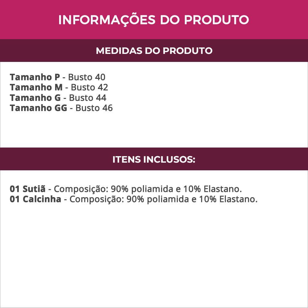 Conjunto de Lingerie Preto Estampado Alças Removíveis em Microfibra - B461300