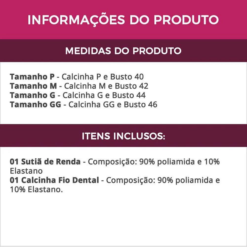 Conjunto de Lingerie Rosê em Renda Transparente - VF13