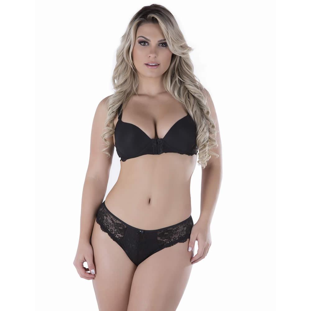 Conjunto Plus Size Preto de Calcinha e Sutiã Nadador com Bojo Fátima - TV3698