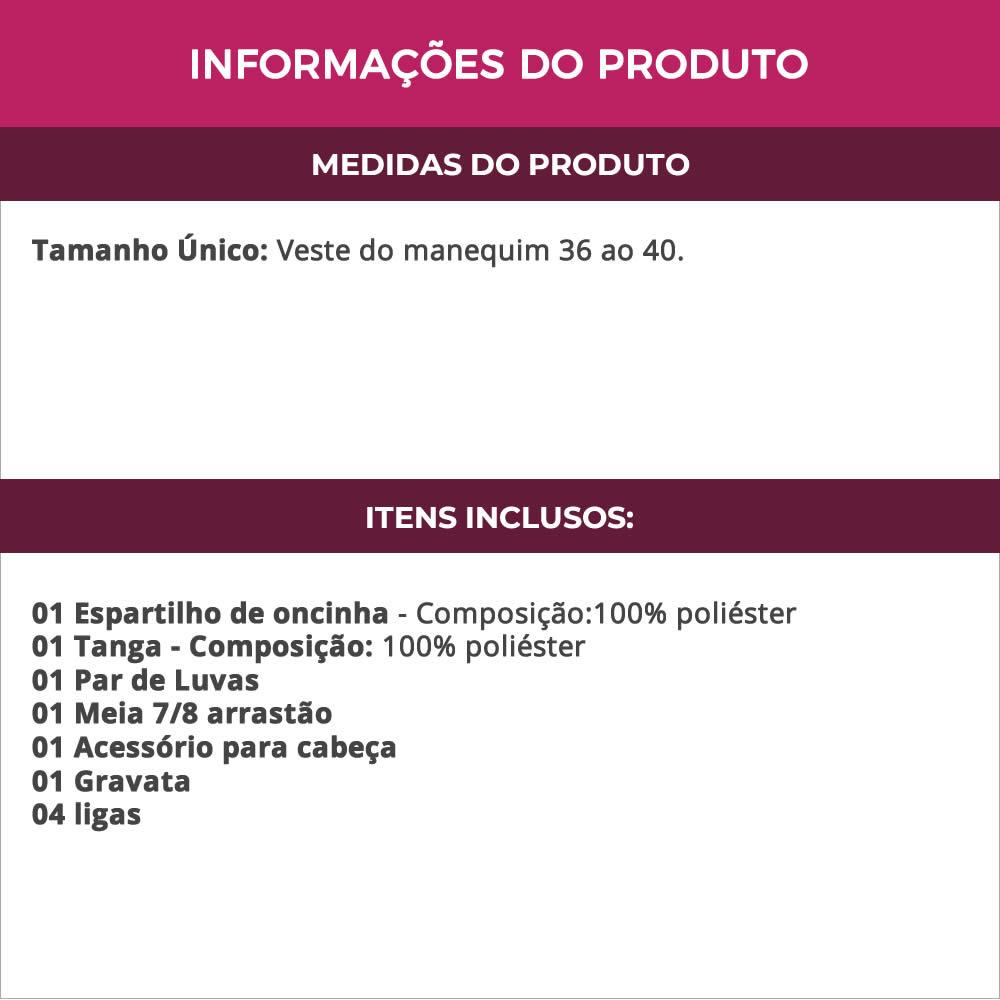 Espartilho Felina em Estampa de Oncinha com Luvas Orelhas e Gravata + Meia Arrastão 7/8 Preta - VT290