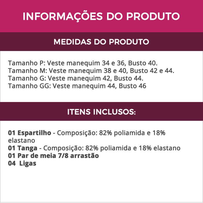 Espartilho Preto com rosa ou Vermelho em Tule e Renda com Calcinha + Meia Arrastão Preta - GV611