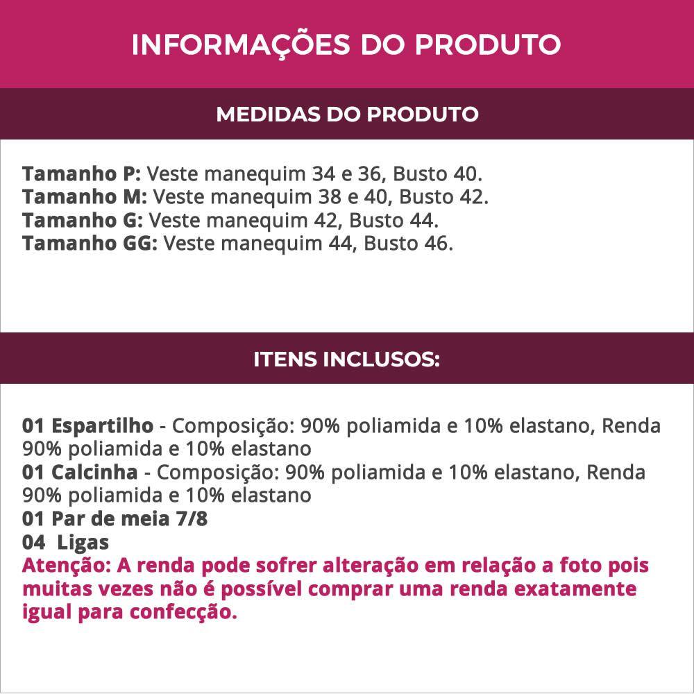 Espartilho Preto Transparente com Bojo em Renda com Meia 7/8 e Calcinha - VC3295