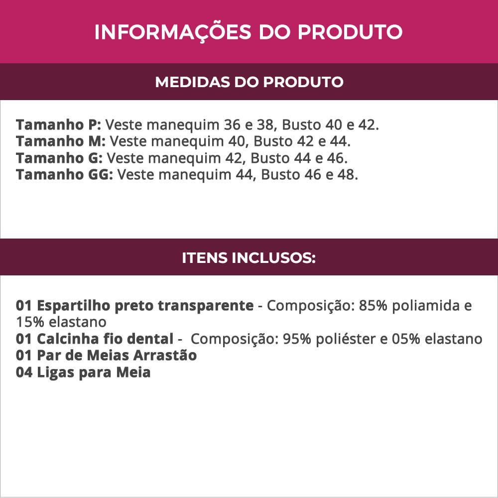 Espartilho Preto Transparente em Tule e Renda Com Calcinha + Meia Arrastão - GV2031