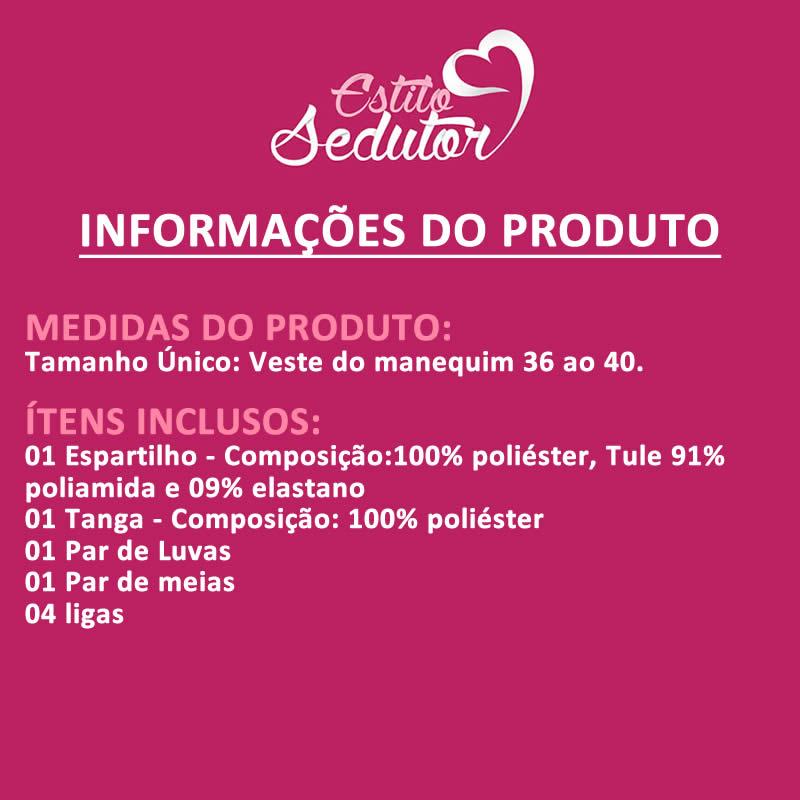 Fantasia Adulto Erótica Dominadora em Vinil com Luvas e Meia 7/8 Preta ou Vermelha - MS0065