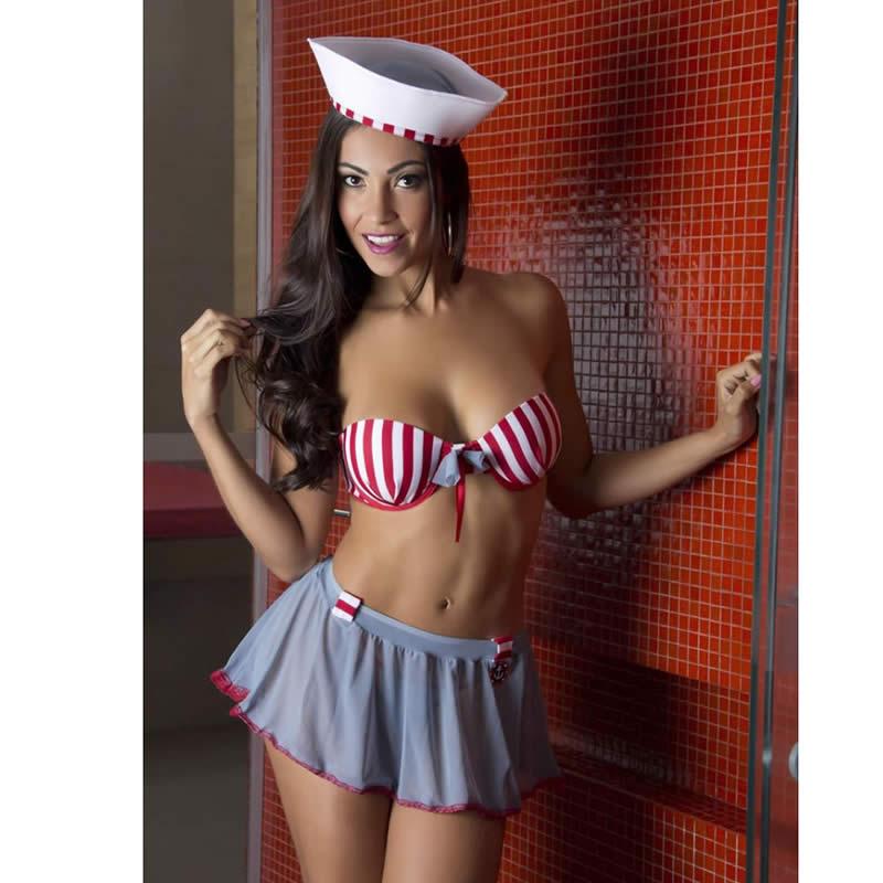 Fantasia Adulto Erótica Marinheira de Mini Saia Sexy e Boina - GV316