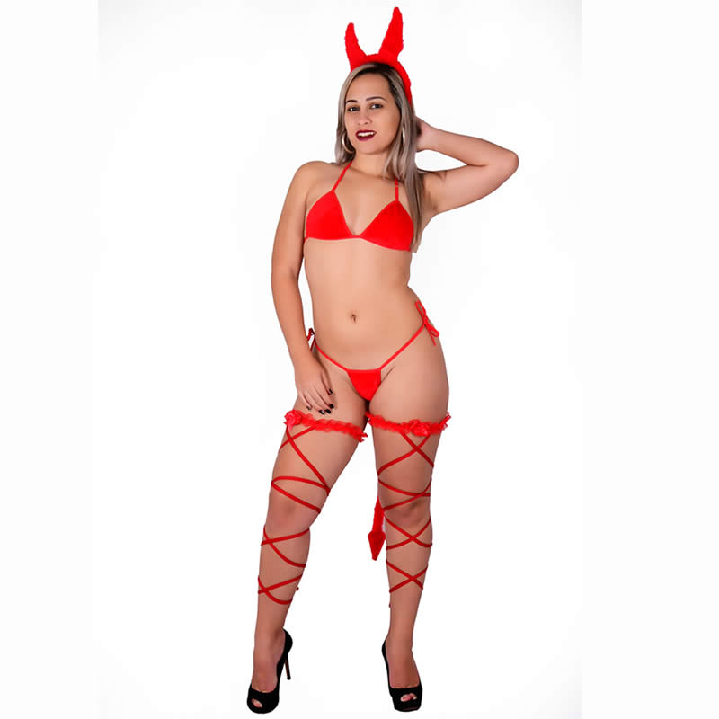 Fantasia de Diabinha Erótica com Tanga Tiara e Perneira - DM218