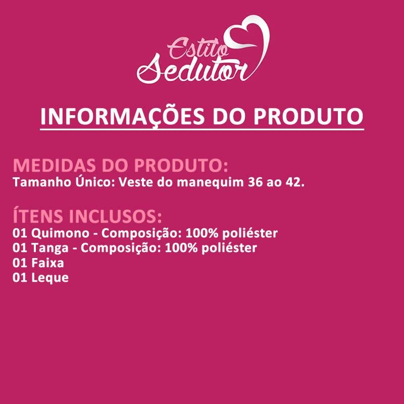 Fantasia Erótica Gueixa Sensual Transparente Quimono Vermelho ou Preto - VT087