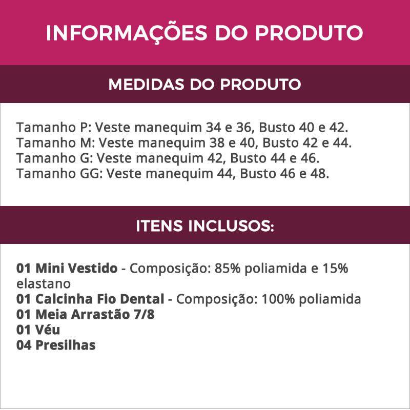 Fantasia Erótica Noiva Atrevida + Meia Arrastão 7/8  - GV2125