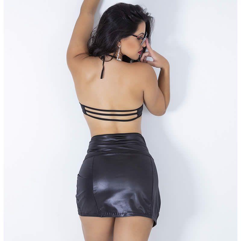 Fantasia Erótica Secretária com Top Strappy Cirrê Preto - GV371