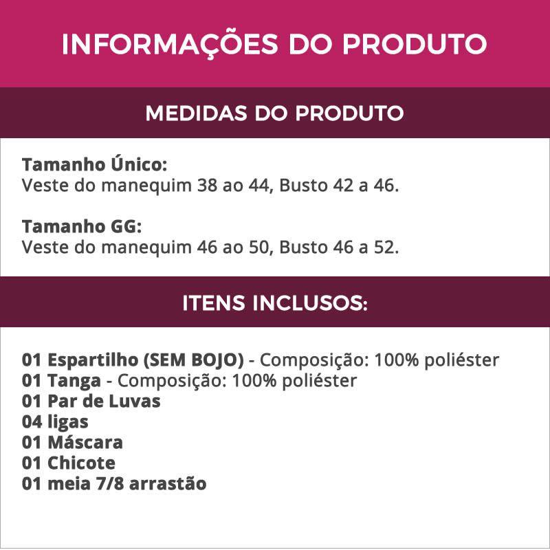 Fantasia Erótica Tiazinha Dominadora com Chicote Máscara + Meia Arrastão - VT242