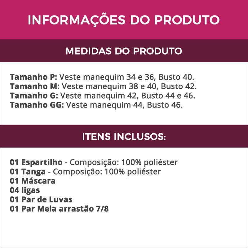 Fantasia Erótica Tiazinha Espartilho Preto + Meia Arrastão 7/8 - GV117