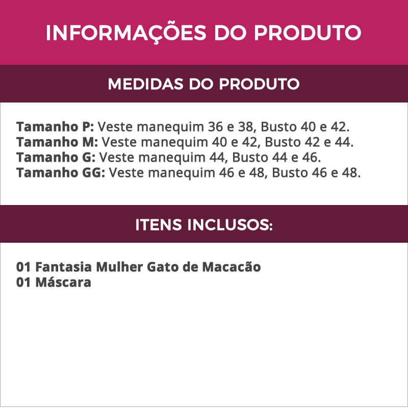 Fantasia Mulher Gato de Macacão em Cirrê Preto Feminina Adulto - GV335