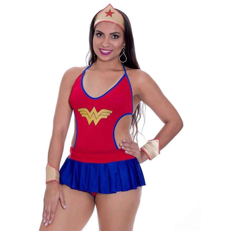 Fantasia Mulher Maravilha Erótica de Body Sexy e Tiara - DM422