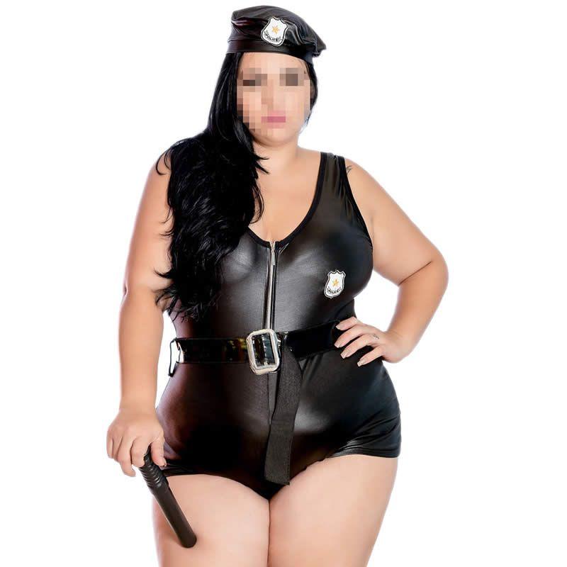 Fantasia Plus Size Erótica Policial de Macaquinho Cirrê + Cassetete - EK2072