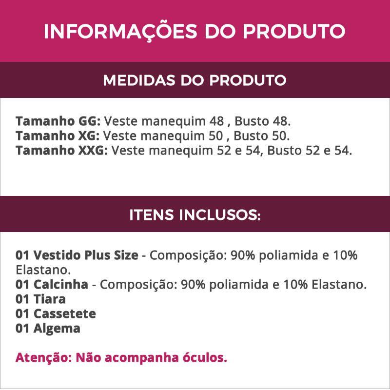 Fantasia Plus Size Erótica Policial Patente Alta com Cassetete + Algema - EK2103-2117