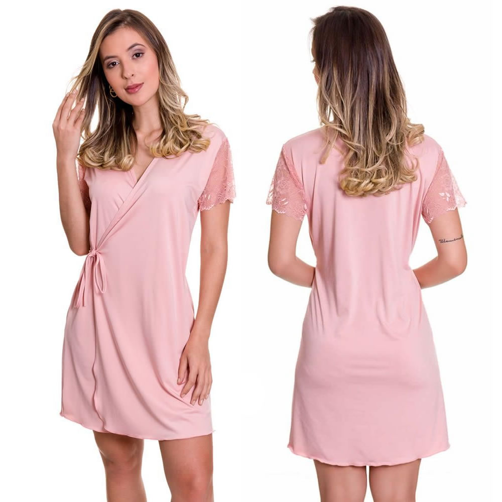 (KIT-V01) - 2 Camisolas Amamentação Com Robe 1 Azul Marinho e 1 Rosa - ES206-207