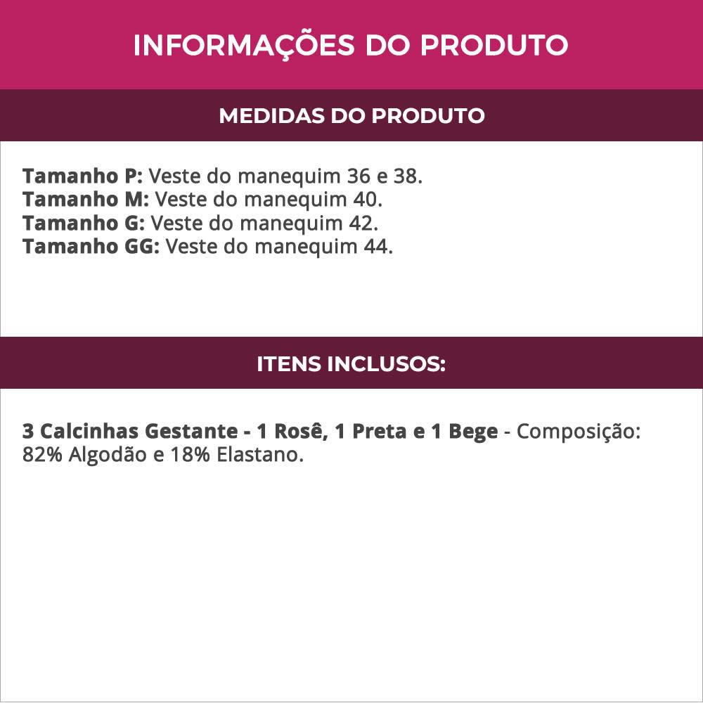(KIT-V108) - 3 Calcinhas Gestante em Cotton Rosê Preta e Bege - NN1809