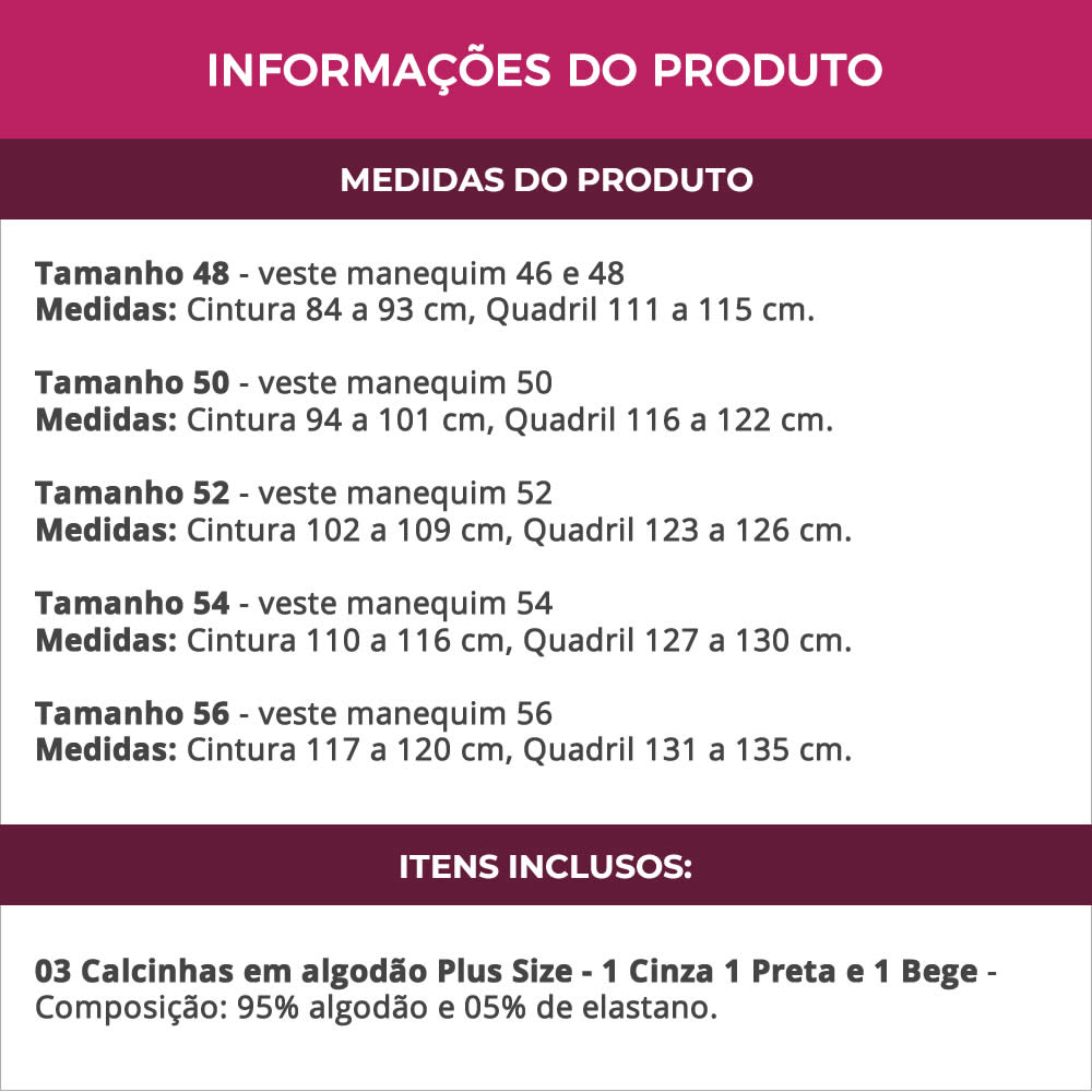 (KIT-V110) - 3 Calcinhas Plus Size em Algodão Cós Alto Cinza Preta e Bege - PL261-262
